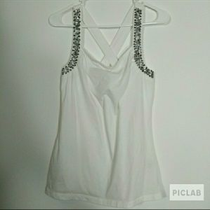 Charlotte Russe white sequin beaded tank top large